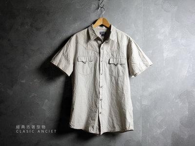 CA 美國馬球牌 POLO JEANS COMPANY 淺灰條紋 純棉 短袖襯衫 L號 一元起標無底價L565