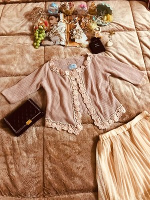 (保留)日單Snide針織珍珠水晶鑽玫瑰雕花小外套