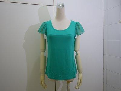 ☆注目の原裝日本專櫃品牌HERES 2019夏新款水湖綠色紗袖短袖棉衫☆