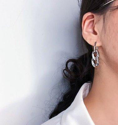 【黑殿】歐美流行鏈條金屬耳環 誇張耳環百搭個性潮流耳環 簡約歐美耳環 個性單品百搭耳環EO148