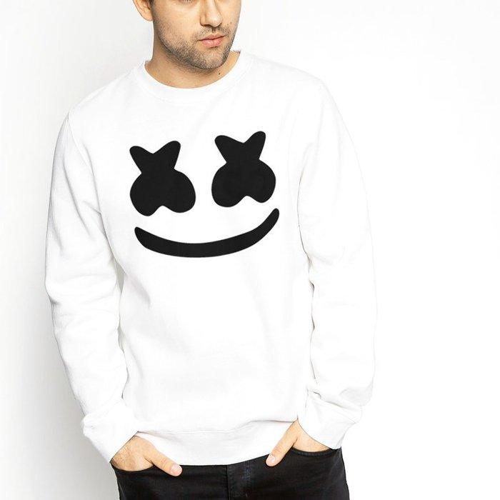 Marshmello Face 全球百大DJ 官方 白色 大學刷毛電音舞曲派對EDM