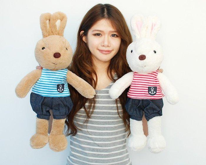 可愛兔子娃娃~法國兔玩偶~穿衣造型~高52公分~格紋法國兔~最受歡迎商品