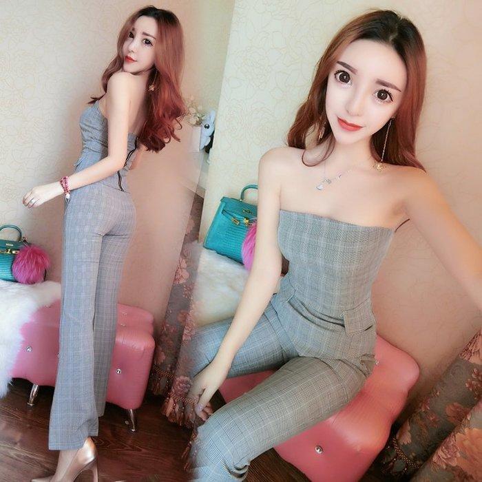 兩件式 套裝 正韓2018春裝新款韓版時尚兩件套抹胸格子上衣修身高腰長褲子套裝女潮