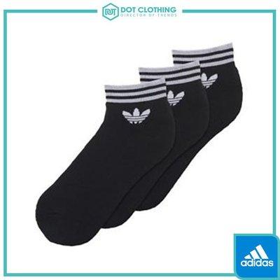 DOT聚點 ADIDAS TREFOIL SOCKS 黑 大LOGO 休閒 三條線 三雙一組 短襪 棉質 AZ5523