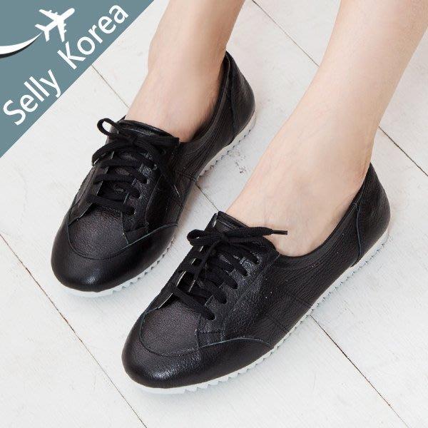 正韓 牛皮 小白鞋 運動鞋 綁帶 復古Selly沙粒-(KR256)3色