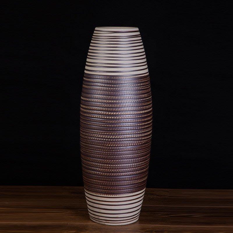 旦旦妙 簡約陶瓷花瓶 景德鎮手工落地花器擺件 開心陶瓷776