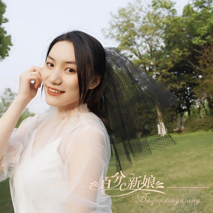 爆款--個性黑色頭紗韓式新款復古網紅拍照頭紗暗黑新娘森系寫真旅拍cos#新娘用品#頭飾#復古#手工藝品