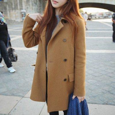 韓版翻領直筒雙排扣毛呢中長版大衣外套*2色*預購款S號