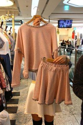 ♥出清 可純超取♥ 質感小香風毛鬚粉色上衣+粉色裙套裝(粉色現貨)  正韓