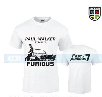 速度與激情7 玩命關頭7 電影t恤保羅沃克男純棉短袖2015新款潮衫打底衫紀念