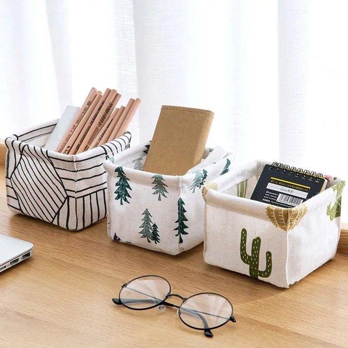 棉麻桌面收納盒辦公桌文具收納筐 化妝品雜物整理盒 小物收納盒