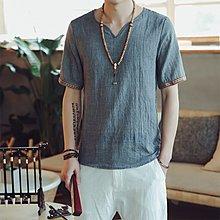 逆主流  夏季中國風純色短袖T恤大碼仿棉麻透氣薄款短T