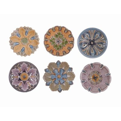 【Eze Art Deco】美國設計師傢飾,美式 陶製仿古花形盤壁掛(六款),裝飾 壁掛 壁飾 牆面裝飾 民宿餐廳佈置