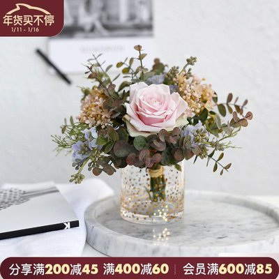 千禧禧居~ladylike 小清新玫瑰花束仿真花裝飾 餐桌花瓶擺件 客廳擺設 插花