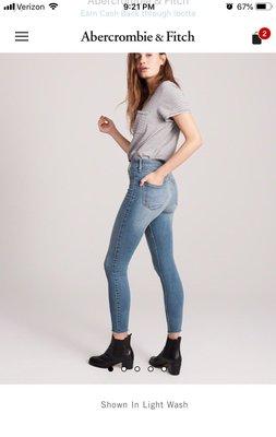 美國AF A&F 女裝High Rise Ankle Jean Leggings26腰/2號淺色高腰貼腿牛仔褲含運在台