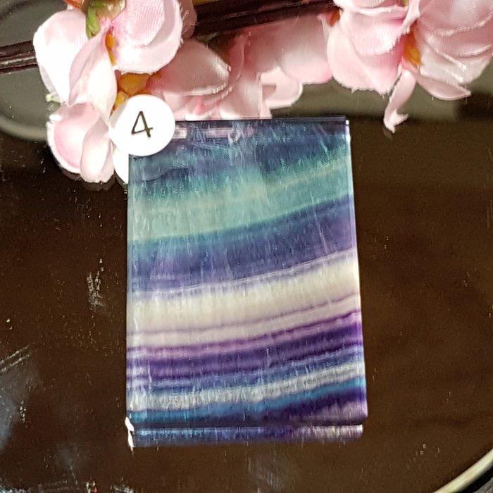 二姐的店 螢石 平安無事牌 項鍊墜飾 天然艷麗彩虹色 ~b634-4◎特價