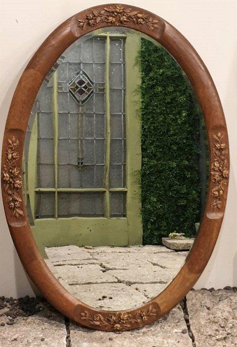 【卡卡頌  歐洲古董】🌷法國老件 橡木 立體玫瑰花卉 橢圓鏡(可橫或直掛) pa0334