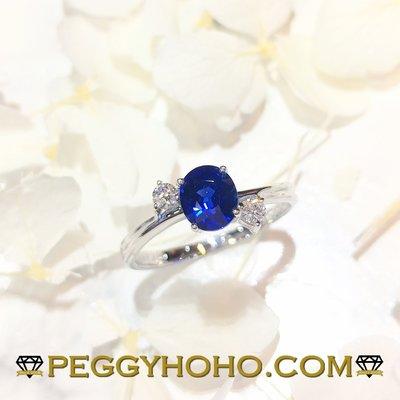【Peggyhoho】 全新18K白金97份藍寶石配10份真鑽石戒指| 六褔出品| Sapphire HK10.5號