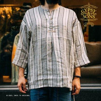 BTO 日本【GYPSY&SONS】亞麻條紋七分袖Smock海軍漁獵工作罩衫