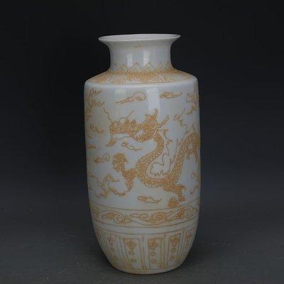 ㊣姥姥的寶藏㊣ 大明永樂款甜白瓷堆彩龍鳳紋棒槌瓶  官窯出土古瓷器古玩古董收藏