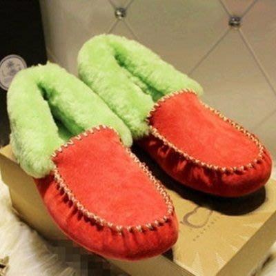 豆豆鞋羊毛絨休閒鞋-平底鞋磨砂加厚甜美可愛保暖真皮女鞋子7色72o18[獨家進口][米蘭精品]