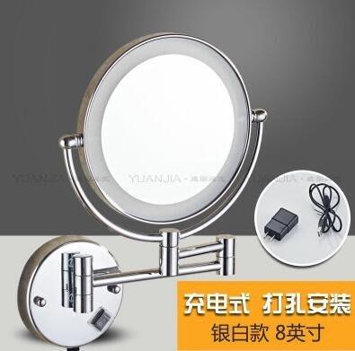 『格倫雅』銀色充電款 打孔帶燈美容鏡雙面LED化妝鏡子浴室折疊梳妝放大鏡壁掛式伸縮^7795