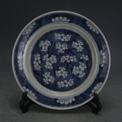 ㊣姥姥的寶藏㊣ 大清光緒青花手工瓷冰梅紋瓷盤  民窯古瓷器古玩古董收藏擺件