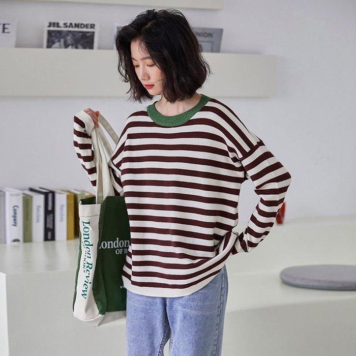 SeyeS street雜誌款自然風拼接條紋配色滾邊領毛衣