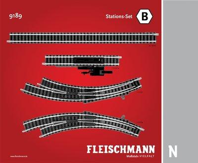 傑仲 博蘭 FLEISCHMANN 鐵軌零件 Track pack Station Set B 9189 N
