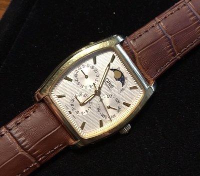 【錶帶家】ORIS 舊款酒桶型月相錶可代用『嚴選如真鱷魚皮』19mm收18mm 頂級義大利牛皮錶帶適用天梭 浪琴
