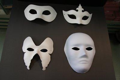 白色手繪面具、紙漿面具-可塗鴉 每個特價14元