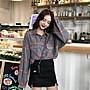 小香風 短袖T恤 時尚穿搭 2018 韓版 格子長袖襯衫學生休閑寬松復古POLO領上衣女裝潮