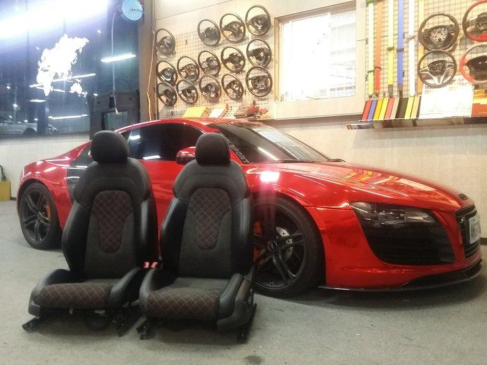 AUDI R8皮椅內裝訂製~正方菱格紅線麂皮座椅.ALCANTARA門板.方向盤RS4.RS6.S5.S4.S3.Q3