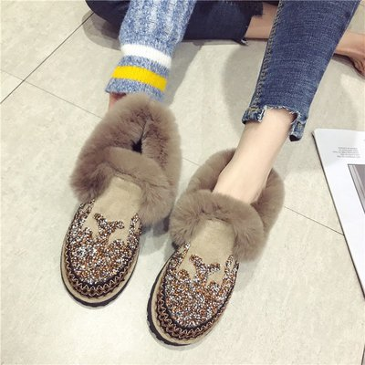 【Trend Sh】2018新款圓頭厚底毛毛鞋加絨豆豆鞋外穿平底棉鞋水鉆保暖瓢鞋女潮