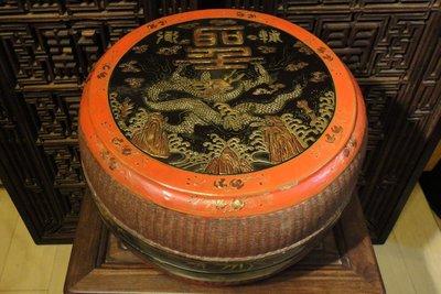 ~觀自在~ 收藏家釋出 清 開門老件 官造漆器藤編五爪金龍 飛龍宴盒
