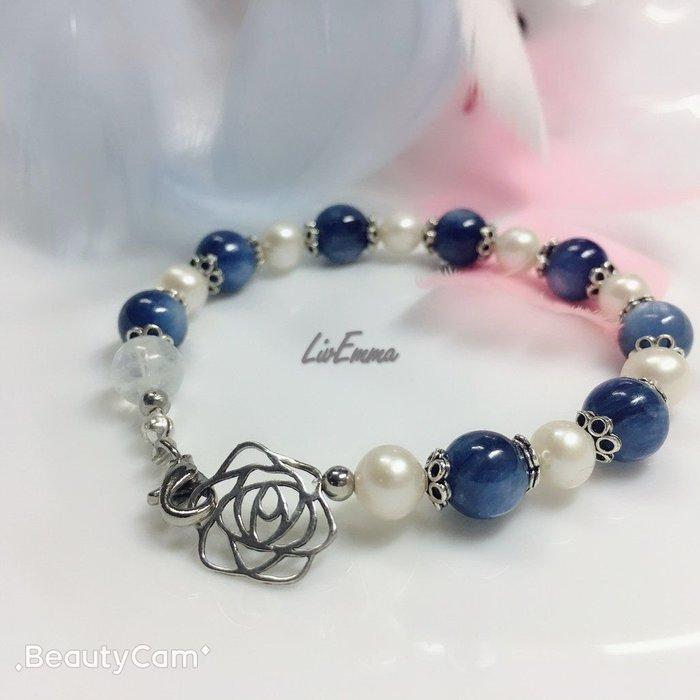 【勇敢傳說】玫瑰藍晶石珍珠手鍊