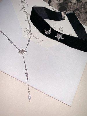 《巴黎拜金女》鑲鑽八芒星Y字形項鍊黑絲絨星月choker頸帶