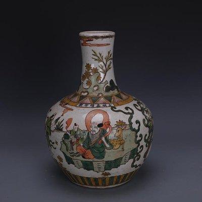 【三顧茅廬 】大明嘉靖古彩手繪壽星八仙人物天球瓶 出土文物古瓷器古玩收藏品