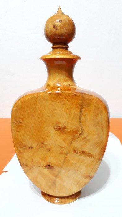 【九龍藝品】台灣黃檜 ~ 扁  瓶 ~ 聚寶盆   閃花.高約26.5公分 K3066