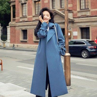 風衣 外套 長款大衣-藍色綁帶簡約百搭女外套73ue11[獨家進口][米蘭精品]