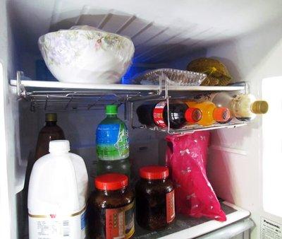 ☆成志金屬☆魔術空間*不鏽鋼冰箱下掛架、廚房下吊架,可摺疊好收好拿,廚房收納架