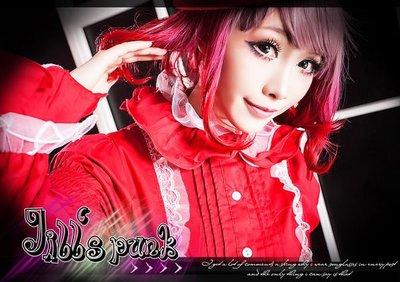 Oo吉兒oO蘿莉塔可愛英倫小公主日記~漢娜情人節花瓣領燕尾燈籠袖襯衫 lolita 紅