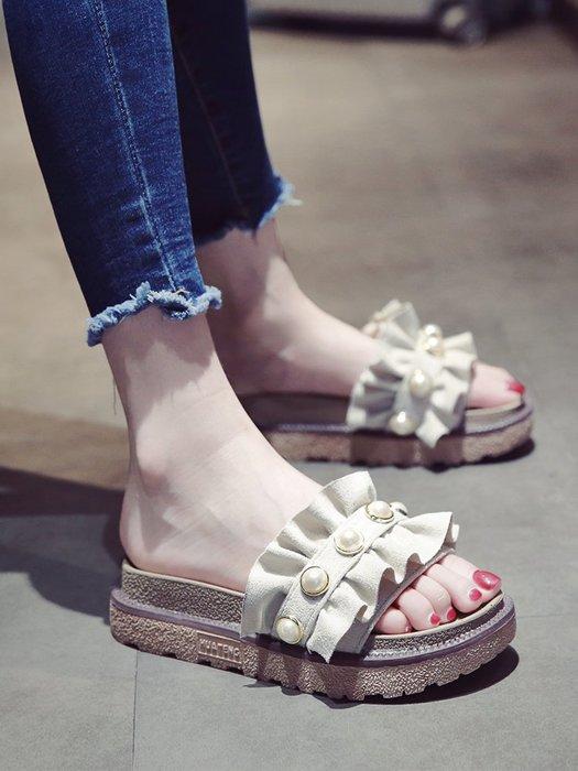 創意夏季女鞋 網紅拖鞋女夏時尚外穿新款韓版學生百搭松糕厚底沙灘一字涼拖