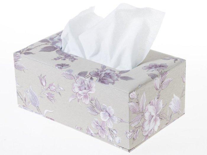 歐式抽取式面紙盒 皮革面料衛生紙盒 – 中 – 淡紫牡丹 ZA-42364