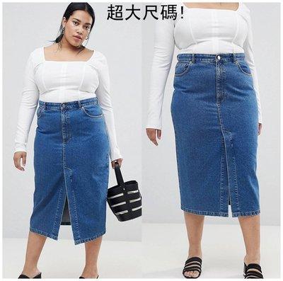 【Sam Presents】歐美經典熱銷藍牛仔裙過膝裙短裙子超大尺碼加大尺寸特大號C4281