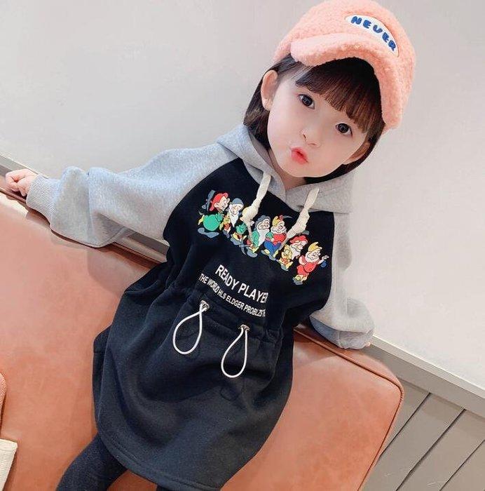 [秀衣閣] 秋冬新款加絨加厚女童可愛連衣裙寶寶純棉洋氣衛衣裙子