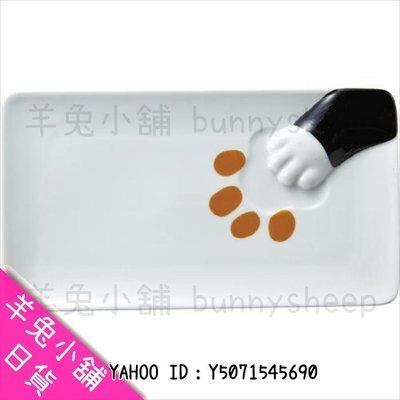 【日本可愛貓咪 貓腳印 手掌 長方形 盤子 黑貓】Z18190 羊兔小舖 日貨 日本代購 餐具 餐盤 貓雜貨