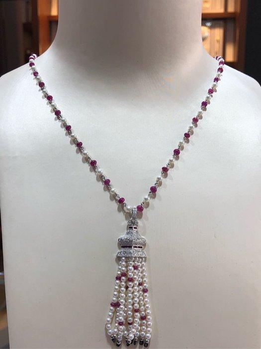 設計師珠寶展款式,兩用珠寶獨特款式,紅寶石鑽石珍珠項鍊,獨一無二,只有一條,買到賺到,超值優惠價65800,光材料設計費就不只售價