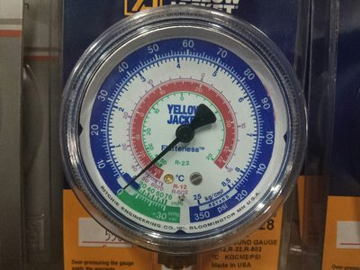 R22 R12 R502 冷媒低壓錶 工作壓力350PSI YELLOW JACKET 美國進口 低壓表
