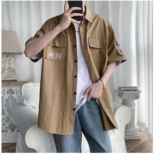 FINDSENSE X  男士 薄款  印花休閑工裝 短袖襯衫 男 上衣情侶襯衣潮襯衫 西裝襯衫